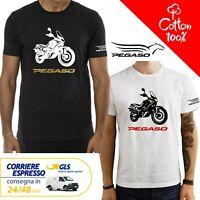 T-Shirt Aprilia Pegaso 650 uomo Maglia moto nera cotone 100% maglietta