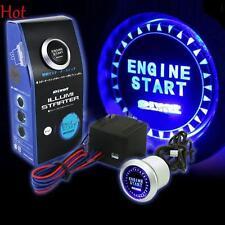 BLUE LED BACKGROUND LIGHT ENGINE IGNITION PUSH START BUTTON STARTER 12V SWITCH
