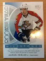 2017-2018 SP AUTHENTIC AARON EKBLAD ROOKIE YEAR MILESTONES HOCKEY CARD