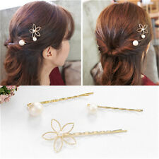 1 Set/3pcs Gold Plated Hair Jewelry Pearl Flower Barrettes Hairpin Hair Clips to