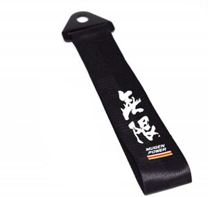 JDM High Strength MUGEN POWER Tow Strap for Front Rear Bumper Towing Hook-Black