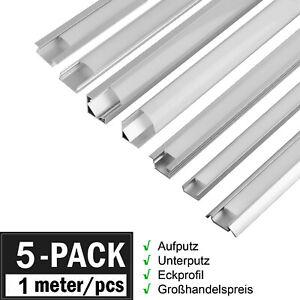 5er 1m LED Profil Aluprofil Alu Schiene Leiste Profile für LED-Streifen Eloxiert