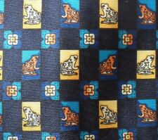 Dark Blue Tie with Small Square Frog Toad Design