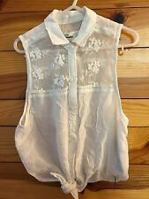 *ABERCROMBIE & FITCH KIDS* Girls White Sheer Top Lace Trim Shirt Size S