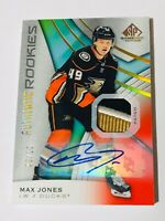 2019-20 SP GAME USED AUTHENTIC ROOKIES SICK AUTO PATCH /15 MAX JONES DUCKS
