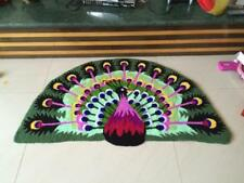 Handmade 47'' x 28'' Fashion Peacock Door Mat Shape Area Rug Anti-slip Floor Mat
