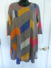 Eloges Tunic Womens Dress, Size M L, Chevron Multi-Color, Pockets  C1