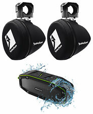 "(2) Rockford Fosgate PM265-SPFM Marine 6.5"" Mini Wakeboard Tower Covers+Speaker"