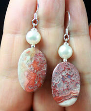 MULTI-TONAL RED LAGUNA LACE AGATE WHITE PEARLS STERLING SILVER EARRINGS