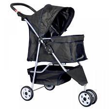 New Black Pet Stroller Cat Dog Cage 3 Wheels Stroller Travel Folding Carrier ++