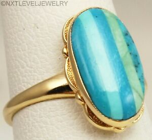 Vintage 1940's RARE Turquoise Striped Inlay 10k Solid Gold Ladies Cocktail Ring