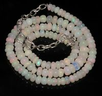 100% Natural Ethiopian Welo Fire Opal  Roundel Beads Necklace  strand Chain.