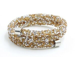 Made with Swarovski Elements Gold and Silver Crystal Dust Double Wrap Bangle