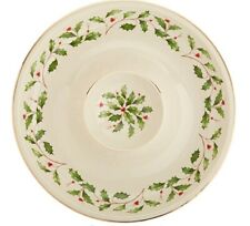 "Lenox ""Holiday"" Chip & Dip Bowel Holly with Gold Trim Nib($80)"