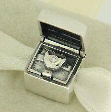Authentic Pandora 791188D Hidden Heart Diamond Club Valentine's Day Bead Charm