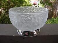 XBB8 Vintage ITALY SATIN GLASS PRESSED ART GLASS BOWL, METAL BASE 3 1/4 X 4 1/2