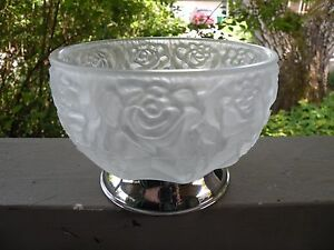 XBB8 Vintage ITALY SATIN GLASS PRESSED ART GLASS BOWL, METAL BASE 3 1/4 X 4 1/2