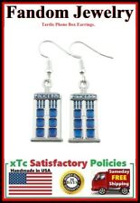 BLUE TARDIS Phone Box Silver Dangle Earrings.