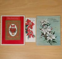 Vintage Christmas Cards 3 Unused Poinsettia Flocked Glitter Holiday Greetings