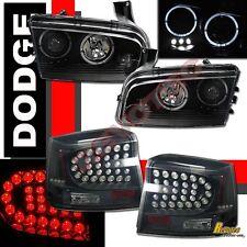 06-08 Dodge Charger BLack Halo Projector Headlights + LED Tail Lights Dark Smoke