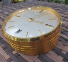 Abercrombie and Fitch Vintage Swiss Gold Desk Top Clock with Date