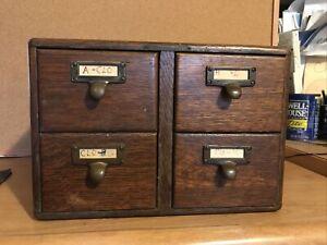 4 Drawer Oak Library Card Catalog Cabinet.
