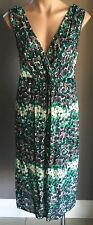 Pre-owned SCARLETT NZ Jade, Grey & White Floral Print Sleeveless Dress Size 12