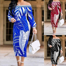 Women Oversized Off Shoulder Printed Strapless Dress Party Holiday Bodycon Dress