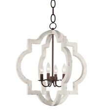 Metal Wood Chandelier 4-Light Retro Iron White Farmhouse Ceiling Pendant Lamp