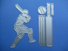 NEW Cricket Batsman & Wicket Stumps, Bat & Ball Metal Craft Cutting Dies