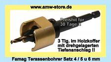 Famag Terassenbohrer Satz 4-6mm 3 Tlg Holzkoffer Terasse Bohrer Senker Vorbohrer