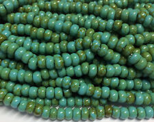 1/0 Rustic Czech Glass Seed Beads - Opaque Turquoise Picasso - 20-inch Strand