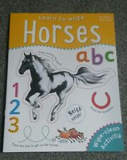 Learn to Write Horses children's wipe clean book early learning Miles Kelly