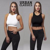 Urban Classics Damen Top Cropped Rib Bauchfreies Shirt T-Shirt Top-Shirt X-Cut