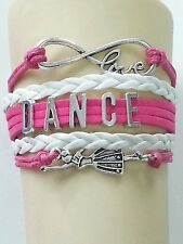 DANCE BRIGHT PINK/WHITE LEATHER CHARM BRACELET SILVER ADJUSTABLE-SPORTS-#83