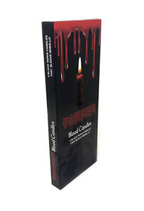 """Vampire Blood 10"""" Drip Taper Candles Black With Red Blood Wax Gothic 4 Pack"""
