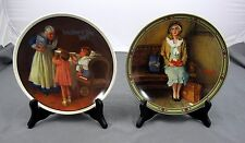 Set of 2 Norman Rockwell Plates ''Grandma' s Suprise'' & ''Young Girl's Dream''