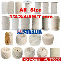1/2/3/4/5/6mm Macrame Rope Natural Beige Cotton Twisted Cord Artisans Hand Craft