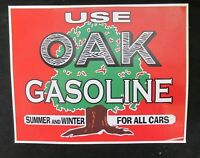 "Use Oak Gasoline Vinyl Decal. 11"" x 14"" *Gas & Oil / GAS PUMP STICKERS / PETRO"