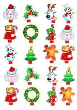 Christmas Icons x20 CupCake Medium Toppers Stand ups *DIY* Wafer Card