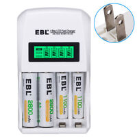 EBL 4 Slots Fast LCD Charger For AAA AA NIMH NICD Rechargeable Battery US Plug
