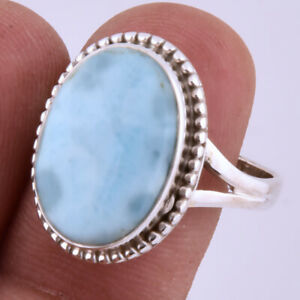 Republic Larimar Gemstone Handmade 925 Solid Sterling Silver  Ring Size 9""
