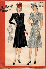 1930's VTG Du Barry Misses' Dress Pattern 2429B Size 18