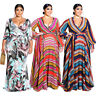 Plus Size Women's Bohemian Style Printed V Neck Casual Party Maxi Belted Dress