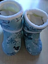 BNWT New Pair of Laura Ashley Slipper Boots - Blue with White Lining - Small