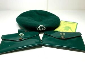 VINTAGE 1950s 60s GIRL SCOUT WOOL GREEN HAT BEANIE PLUS 2 ID COIN PURSES