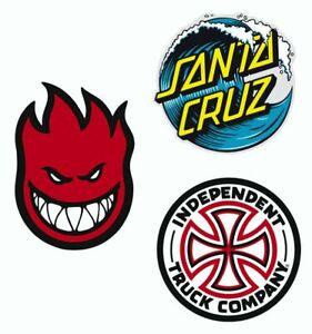 Lot de 3 Stickers skate SPITFIRE 5x7cm - SANTA CRUZ 6x6cm - TRUCK COMPANY 6x6cm