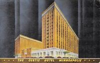 Minneapolis Minnesota~The Curtis Hotel @ Night~1940s Art Deco PC
