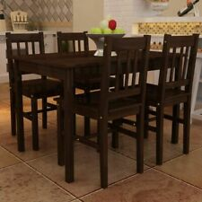 5 Piece Dining Set Wooden Table and 4 Chairs Kitchen Dining Room Breakfast Brown