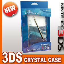 Good Quality Hard Crystal Clear Shell Case & Stylus For Nintendo 3DS (NEW)